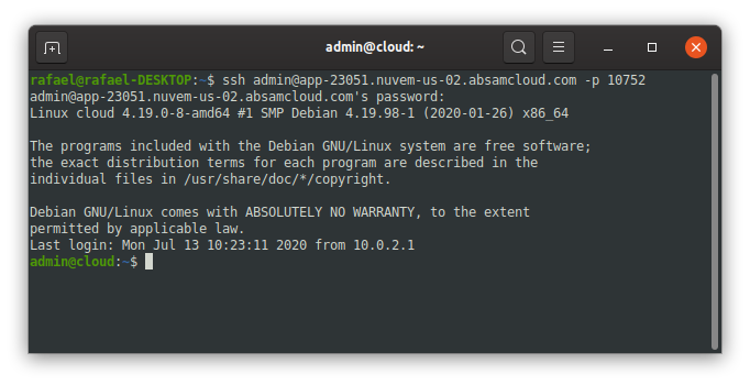Terminal servidor absam nodejs