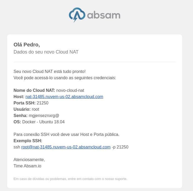 email com credenciais